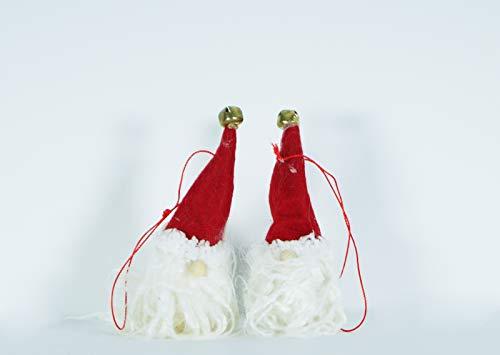 takestop® Set 6 Stück APPENDINI Kopf Gnom Glocke 11 x 4 cm Barba Weihnachtsmann Hut Rot Anhänger Baum Weihnachtsbäume ADDOBBO Weihnachten Party CENONE ()