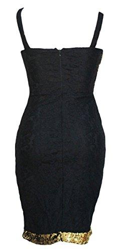 ABILIO - vestito pizzo aderente donna vestito paillettes elegante abito festa vestitino donna Nero