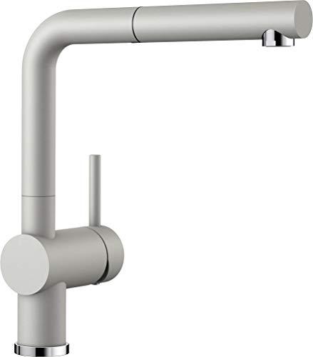 Blanco Linus-S, Küchenarmatur - Einhebelmischer mit ausziehbarer Schlauchbrause, perlgrau, Hochdruck, 1 Stück, 520747