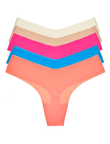 DOBREVA Mujer Bragas Tangas Sin Costuras Invisible Pack de 5 Mixed 5 Pack XXL