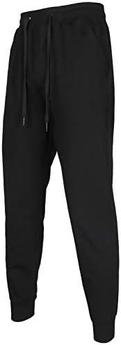 Men's Cotton Slim Fit Jogger Pants Casual Drawstring Track Sweatpants with Elastic Waist and Zipper Poc
