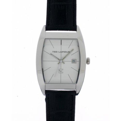 Ted Lapidus - 5126002 - Montre Homme - Quartz Analogique - Cadran Gris - Bracelet Cuir Noir