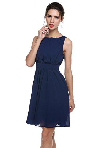 CRAVOG Draped O-Ausschnitt Sleeveless Hoher Taille Fest Chiffon Kleid Plissiertes Kleid Sommer Herbst Kleid Blau