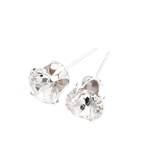 pewterhooter 925 Sterling Silver stud earrings expertly made with sparkling Diamond White crystal from SWAROVSKI® UoqZnR