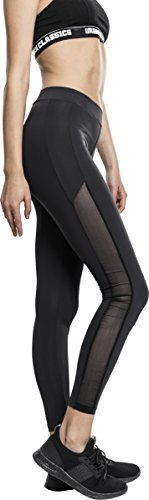 Urban Classics TB1736 Ladies Tech Mesh Stripe Leggings, lange Laufhose für Damen, Trainingshose für Sport und Freizeit, Farbe Schwarz, Größe XL (Stripe L/s Shirt)