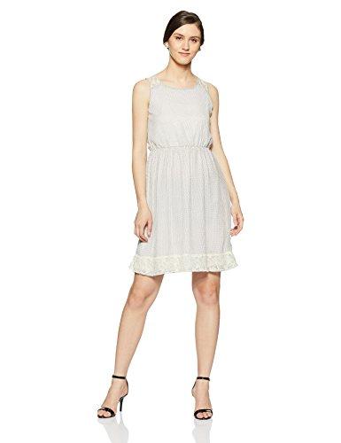 Park Avenue Woman A-Line Dress (PWEE00322-W2_White_S)