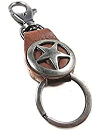 Banggood ELECTROPRIME Pentagram Artificial Leather Loops Keychain Key Ring Keyfob Holder Brown