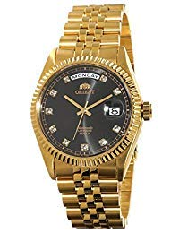 Orient Presidente Classic – Reloj automático de zafiro dorado con esfera negra EV0J001B