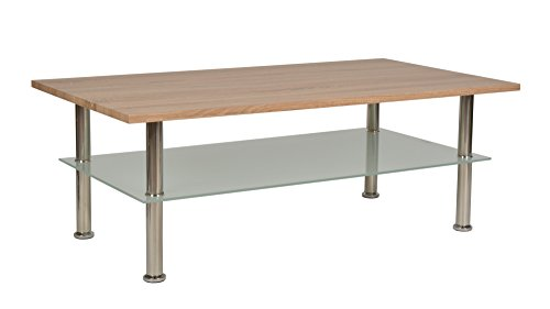 ts-ideen Table Basse Table d'appoint Salon Design Table à café Bois Table en Verre 110 x 60 cm