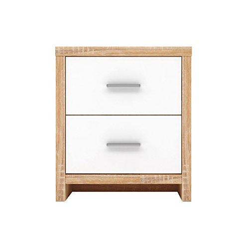 Furniture 247 Nachttisch mit 2 Schubladen - Weiß und Sonoma Eiche (Sonoma Oak)