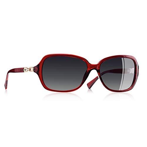AOFLY Übergröße Mode Polarisierte Katzenbrille Sonnenbrille für frauen Gradientenlinse Metallrahmen Brillenartikel, Rot Rahmen/Grau Linse