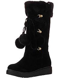 LILICAT® Vendas de Gamuza, pies, Botas para la Nieve, Botas para Mujer, Gamuza, Bola de Pelo, Zapatos sin Cordones, Punta Redonda, Botas de Nieve de Tubo Medio Calientes.