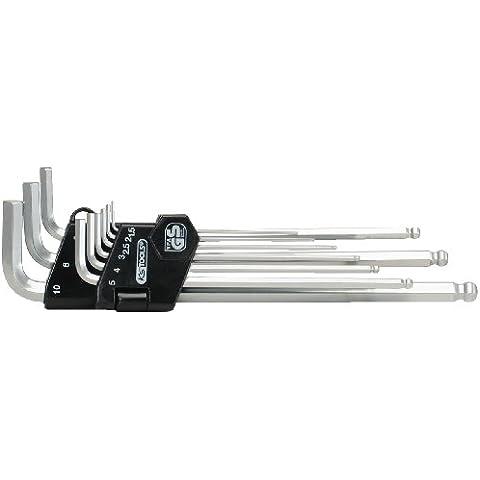 KS Tools 151.3220 Serie Chiavi Maschio Esagonali Piegate a Testa Sferica, Esecuzione Extralunga, Cromate Opache, in Supporto a Clip, 9 Pezzi