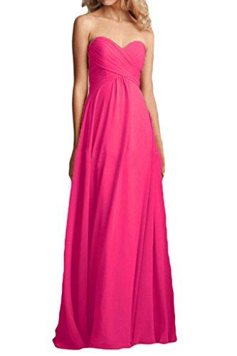 La_mia Braut Elegant Chiffon Herzausschnitt Brautjungfernkleider Abendkleider Partykleider Bodenlang A-linie Wassermelon