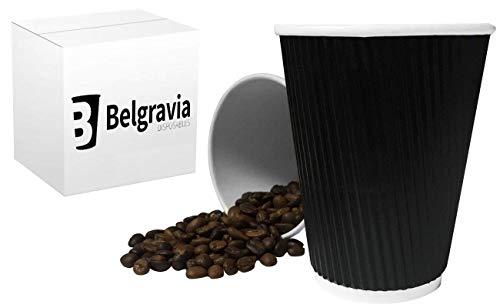 Belgravia 200 x 8 ml Noir Ripple mural Triple Papier jetables pour thé, café et à Cappuccino Tasse pour boissons chaudes