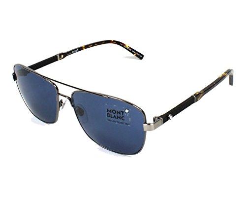 Montblanc Herren MB589S 08V 60 Sonnenbrille, Grau (Antracite Luc/Blu),