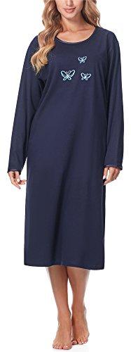 Merry Style Chemise de Nuit Lingerie Robe Vêtement d'Intérieur Manches Longues Femme 91LW1 (Bleu Foncé (Manches Longues), M)