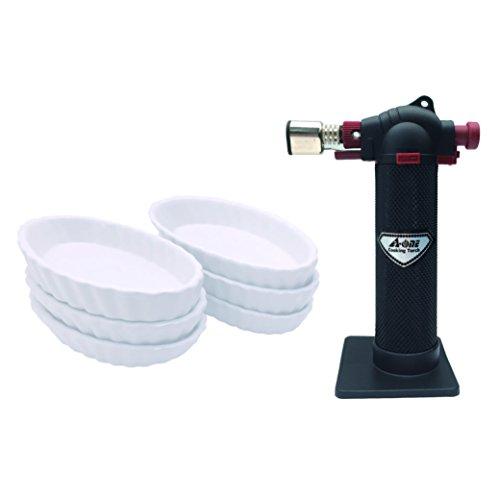 A-One cocina herramienta negro flambeador con juego de 6Oval de herramientas moldes