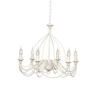 VALFB34136 SP6 B Lisette Pendant Light White 6 Wrought Iron Lights Made in Italy Manufactured by Valastro Lighting Classic Black