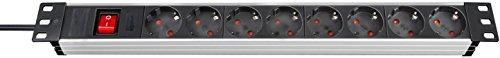 """Preisvergleich Produktbild Brennenstuhl Alu-Line 19"""" Steckdosenleiste 8-fach - Steckerleiste aus hochwertigem Aluminium (mit Schalter, 2m Kabel) Farbe: alu / schwarz"""