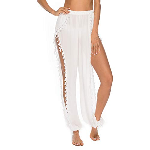 WOZOW Hosen Damen Pumphose Solid Einfarbig Side Slit Pants Split Rüschen Dots Loose Beach Strand Long Trousers Haremshose Hippie High Waist Straight Leg Lang Lose Freizeithose Stoffhose
