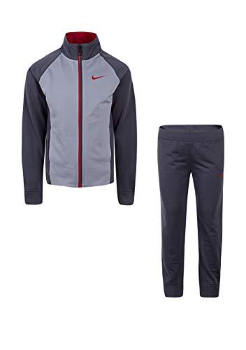 Nike Little Jungen Kleinkind Therma Dri-Fit 2-Teiliger Trainingsanzug (Größe 2T-4T), Jungen, Dark Grey(86E132-G1A)/Red, 6 - Nike Activewear