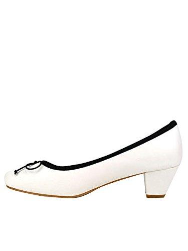 Cendriyon, Escarpin Blanc à Liseré Grande Pointure CELESTE Chaussures Femme Blanc