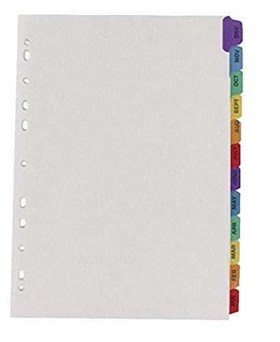 Q-Connect KF01524 Register A4 Januar bis Dezember mehrfach gelocht, verstärkte Reiter – Mehrfarbig (3)