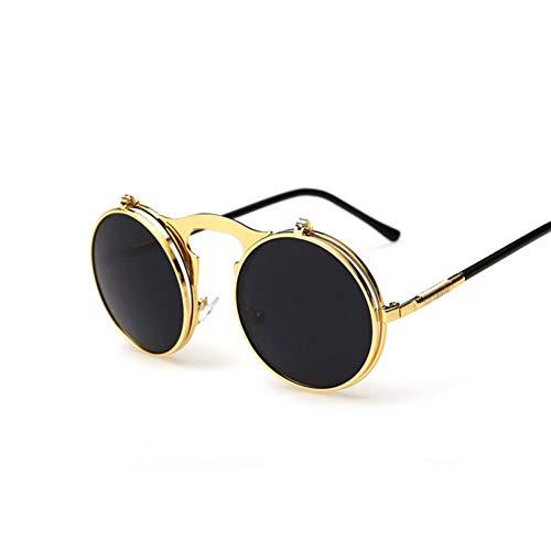 Liuao Steampunk Männliche Sonnenbrille Runde Designer Steam Punk Metall Frauen Beschichtung Männer Sonnenbrille,GoldGray