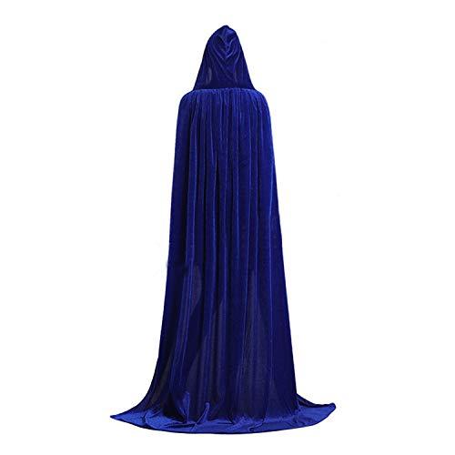 Kostüm Ritual Heidnisches - GAOU Samt-Umhang mit Kapuze, lang, lang, für Halloween, Party, Cosplay blau