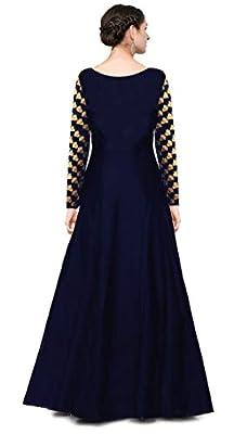 KEDARFAB Women's Cotton Silk Anarkali Gown (Blue and Pink, Free Size)