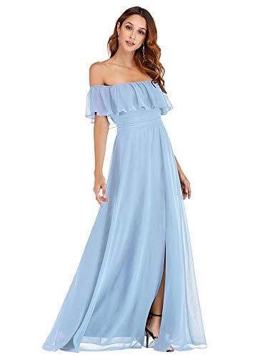 Ever Pretty Damen A-Linie Abendkleid schulterfrei Eisblau 44 -