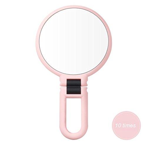 OUNONA Kosmetikspiegel Tischspiegel 10x Vergrößerung für Zuhause und Unterwegs faltbare (Rosa)