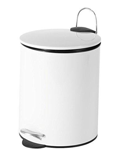 Sanwood 1008526 Treteimer Maurice mit Flachem Deckel Bad-Abfalleimer 5 L, Edelstahl, weiß, 20.6 x 25.6 x 26.6 cm