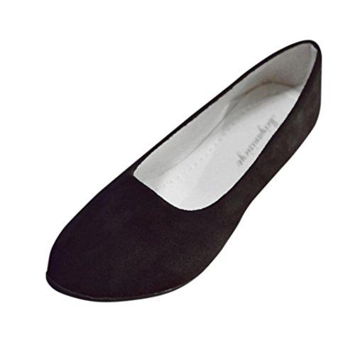 FNKDOR Damen Geschlossene Ballerinas Klassische Flache Elegant Schuhe(40,Schwarz)