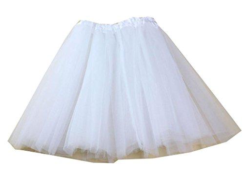 Damen Tutu Unterkleid 1 Cent Artikel Röcke , Petticoat Kleid 50er Rockabilly | Festliches Damenkleid | Blickdicht Fluffiger Ballettrock | Unterröcke Tüllröcke | Fasching Kostüm (Frei, Weiß) (Cent Kleidung = 50)