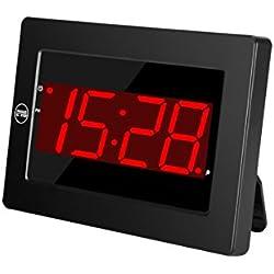 Timegyro Horloge Murale numérique LED réveil à Piles Seulement avec Snooze, 12 / 24H, Auto Dim, Fonctions réglables de luminosité (Noir)