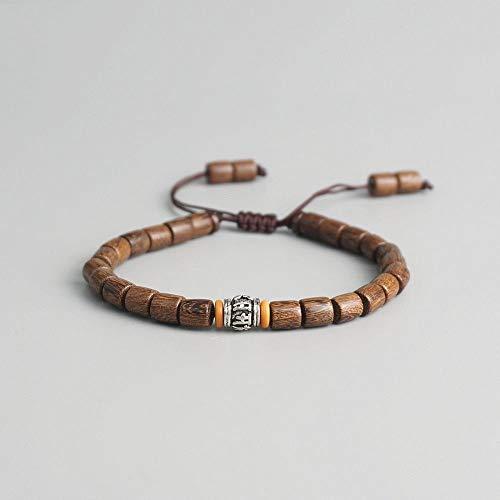 ZUXIANWANG Damenarmband,Handgefertigte Tibetische Gebetsmühle Perle Olive Mutter Armband Tibetisch-Buddhistische Mantra Zeichen Charme Natürlichen Holz Perlen Armband - Gebetsmühle Tibetische