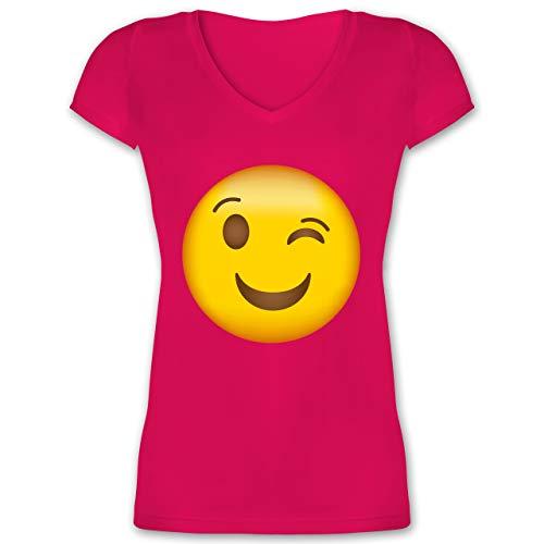 Bit 8 Kostüm Link - Comic Shirts - Zwinker Emoji - XL - Fuchsia - XO1525 - Damen T-Shirt mit V-Ausschnitt