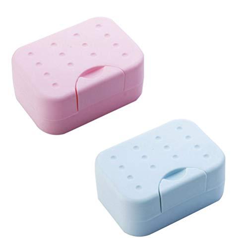 SUPVOX 2 Stück Kunststoff Seifenschale Seifenkorb Doppelschicht Seifenkiste Blattform für Reise Badezimmer Küche WC (Rot und Blau) - Kunststoff-seifenschale