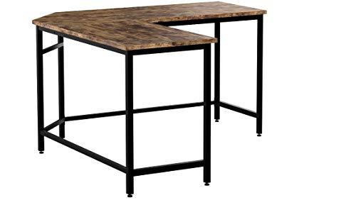 VASAGLE Computertisch, L-förmiger Schreibtisch, Eckschreibtisch, platzsparender Bürotisch im Industrie-Design, Gaming, einfacher Aufbau, Vintage, Holzoptik, Vintage LWD71X