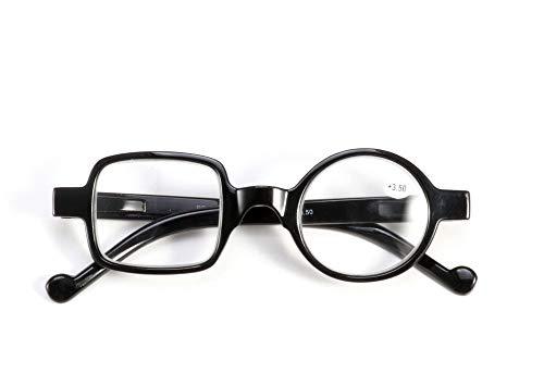 GHzzY Resin Frame Lesebrille - Round + Rectangle Irregular Fashion Readers - Lesebrille für Männer und Frauen,Schwarz,+2.50