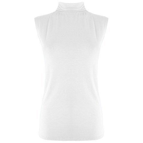 Damen Shirt Top Polo Ärmellos Einfarbig Rollkragen Figurbetont Weste - Weiß - Freizeit Jersey Mädchen Figurbetont, Übergröße EU 48/50 (Polo 50 Shirt Jersey)