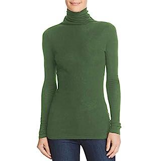 H HIAMIGOS Damen Rollkragenpullover Basic Langarm Pullover aus Merinowolle(Grün, M)