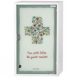 Armoire à pharmacie Petits Bobos avec clés 50 cm Couleur Multicolore Matière Verre