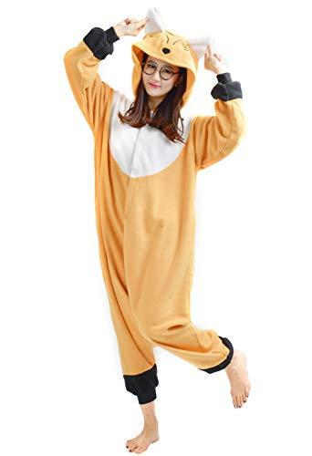 Unisex Kigurumi Jumpsuit Tier Pyjamas Kostüm Fasching Onesie Damen Herren Karneval Cosplay Nachtwäsche, Orange Schnabeltier