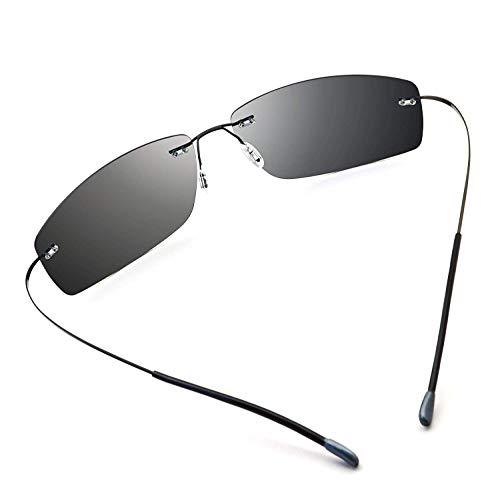 Tclothing Ultraleichte, randlose, polarisierte Aviator-Sonnenbrille aus Titan für Herren (Driving Outdoor Special)