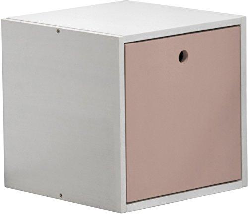 Design Vicenza Cube mit Abdeckung, Holz, Weiß mit Rosa Details -