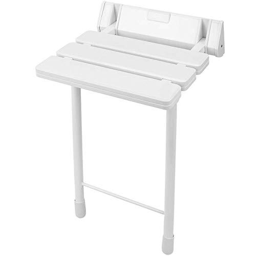 PrimeMatik - Duschklappsitz. Faltender Duschsitz mit Beinen aus Kunststoff und Aluminium grau 320x328mm