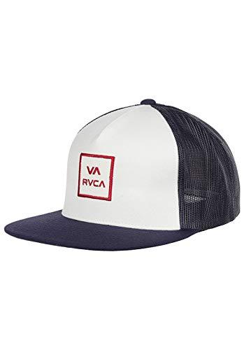 RVCA VA All The Way Trucker Cap Meshcap Mesh Truckercap Flatbrim Flat Brim Kappe Baseballcap (One Size - weiß-blau) - Baseball Rvca